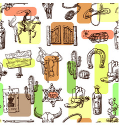 beautiful hand drawn set wild west vector image