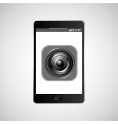 big smartphone black icon sound music vector image