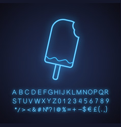bitten chocolate ice cream neon light icon vector image