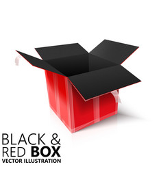 Black and red open box 3d design vector