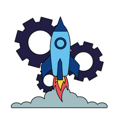 Business launching rocket and gears vector