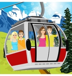 Cable car or booth carrying passengers vector