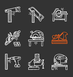 Carpentry chalk icons set vector