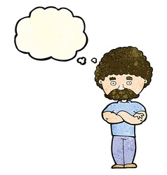 cartoon dad with folded arms with thought bubble vector image
