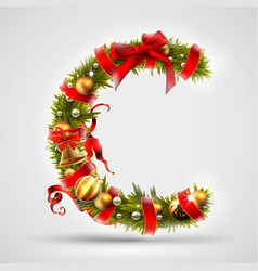 Christmas font letter c of christmas tree vector