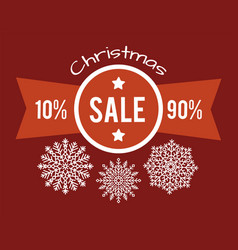 Christmas total sale from 10 to 90 promo poster vector