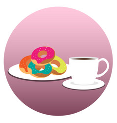 coffee cup with donuts on plate vector image