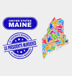construction maine state map and scratched us vector image