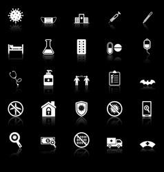 Coronavirus icons with reflect on black background vector