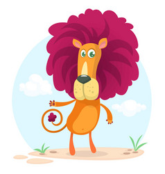 Cute cartoon lion character vector
