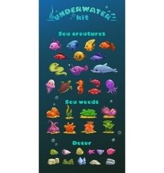 Cute cartoon underwater icons set vector