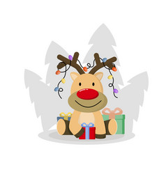 cute christmas deer funny cartoon deer vector image