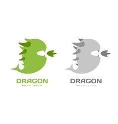 Cute dragon silhouette logo icon vector image