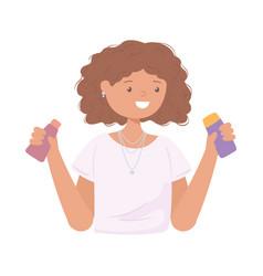 cute girl curly hair vector image