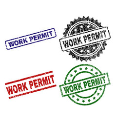 Damaged textured work permit seal stamps vector
