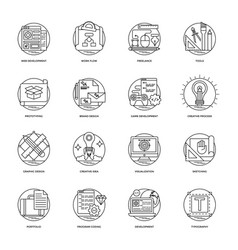 design and development glyph icons set vector image