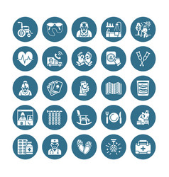 Elderly care flat glyph icons nursing home vector