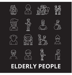 elderly people editable line icons set on vector image