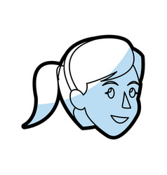 face woman head smile ponytail flat linear vector image