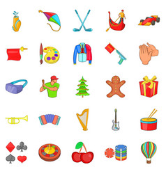 Family holiday icons set cartoon style vector