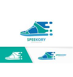 Fast sneaker logo combination speed shoe vector