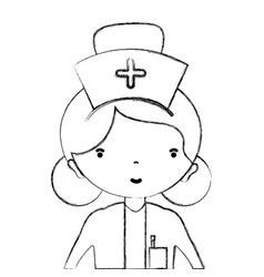 Figure professional nurse with hat in the head vector
