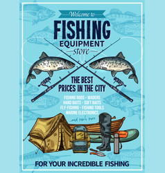 Fisherman sport fishing equipement poster vector