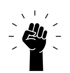 fist hand power logo protest strong raised vector image