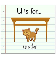 Flashcard letter U is for under vector image