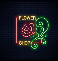 flower shop neon sign flowers store neon banner vector image