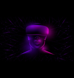 glowing womans face with virtual glasses vector image