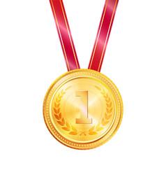 Golden medal award colorful vector