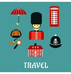 Great Britain travel flat icons vector image