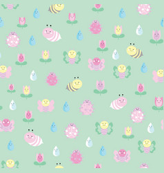 green garden insects and flowers seamless pattern vector image