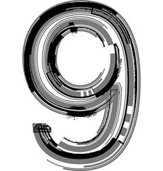 Grunge Font Number 9 vector