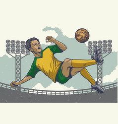 Hand drawing soccer player jumping kick in retro vector