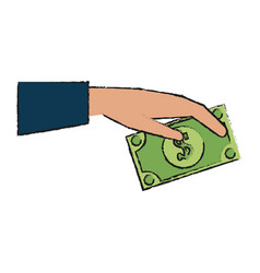 hand holding dollar bill money icon image vector image