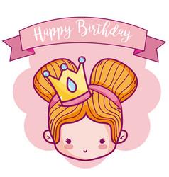 happy birthday with cute princess card vector image
