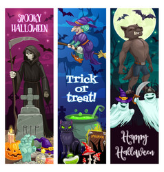 happy halloween banners with spooky monsters vector image