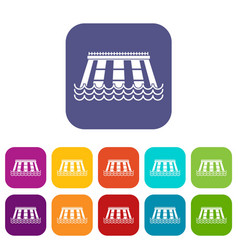 Hydroelectric power station icons set flat vector