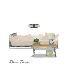 Interior design modern white living room trendy vector