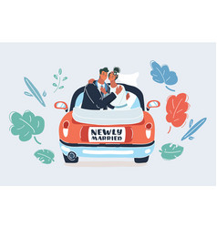 just married couple on white vector image