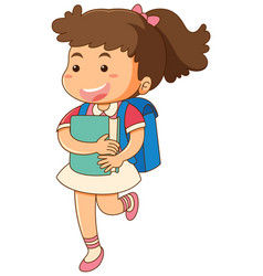 little girl with blue backpack vector image vector image