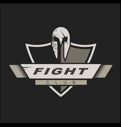 logo template with spartan helmet and shield vector image