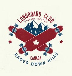 longboard club badge extreme vector image