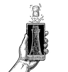 male hand hold smartphone with bottle of champagne vector image