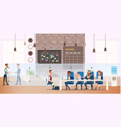 man on job interview process in modern office vector image
