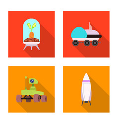 mars and space sign set of vector image