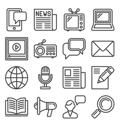 media news icon set on white background line vector image