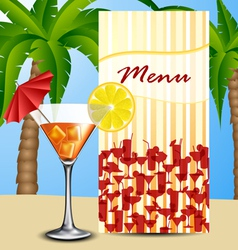 Menu with cocktail vector